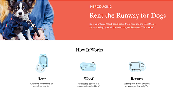 Rent the Runway for Dogs website showing three dogs dressed up in clothes.