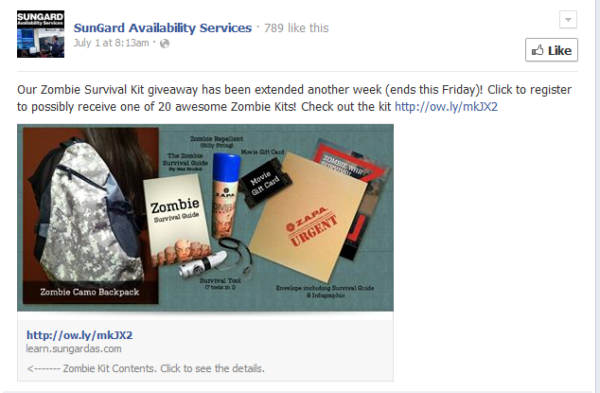 An image of SunGard's social media campaign on Facebook showing the Zombie Survival Kit: a camo backpack, e-book, zombie repellent spray, and a movie gift card.