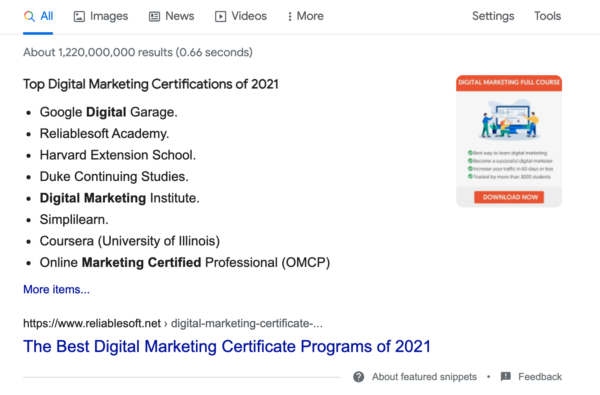 Image showing a bulleted list of the top digital marketing certifications of 2021.