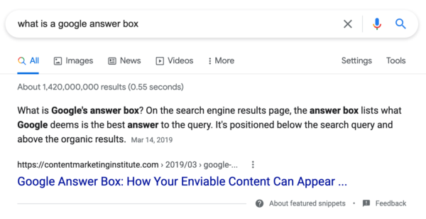 """Image showing the featured snippet for """"What is a Google Answer Box?"""""""