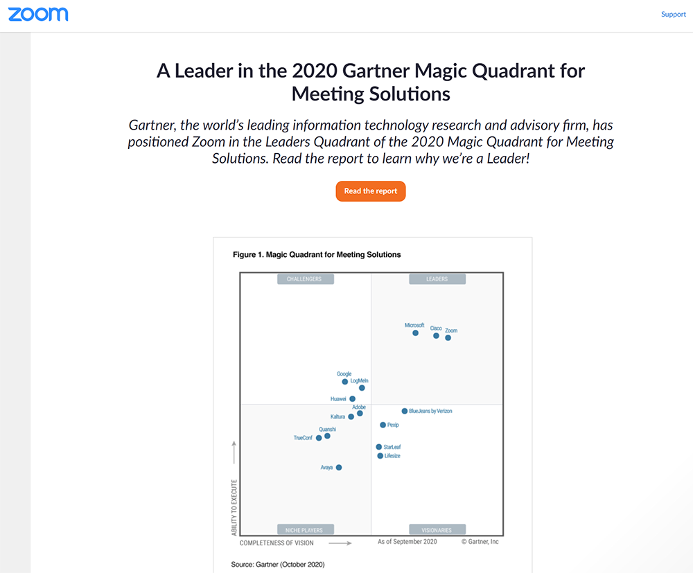 Example of a Zoom end-of-meeting page featuring a content-driven CTA. This one links to the 2020 Gartner Magic Quadrant report for meetings solutions.
